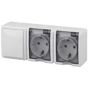 Блок две розетки+выключатель IP54 16A(10AX)-250В открытой установки Эра Эксперт, белый 11-7403-01