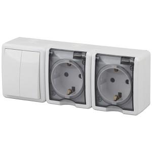 Блок две розетки+выключатель двойной IP54 16A 10AX открытой установки Эра Эксперт, белый 11-7404-01