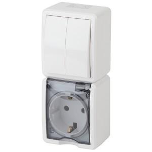 Блок розетка+выкл. двойн. верт. IP54 16A(10AX)-250В открытой установки Эра Эксперт, белый 11-7408-01