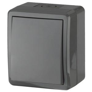 Выключатель IP54 10АХ-250В открытой установки Эра Эксперт, серый 11-1401-03