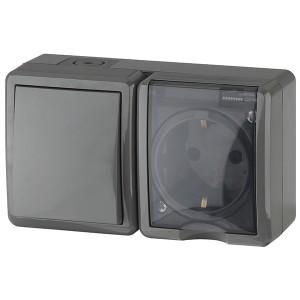 Блок розетка+выключатель IP54 16A(10AX)-250В открытой установки Эра Эксперт, серый 11-7401-03