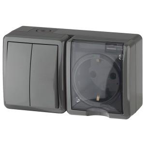 Блок розетка+выключатель двойной IP54 16A(10AX) открытой установки Эра Эксперт, серый 11-7402-03