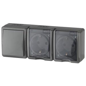 Блок две розетки+выключатель IP54 16A(10AX)-250В открытой установки Эра Эксперт, серый 11-7403-03