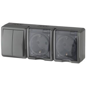 Блок две розетки+выключатель двойной IP54 16A 10AX открытой установки Эра Эксперт, серый 11-7404-03