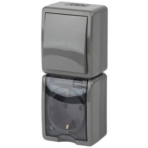 Блок розетка+выкл. верт. IP54 16A(10AX)-250В открытой установки Эра Эксперт, серый 11-7407-03