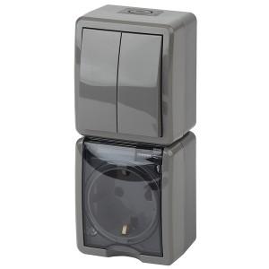 Блок розетка+выкл. двойн. верт. IP54 16A(10AX)-250В открытой установки Эра Эксперт, серый 11-7408-03