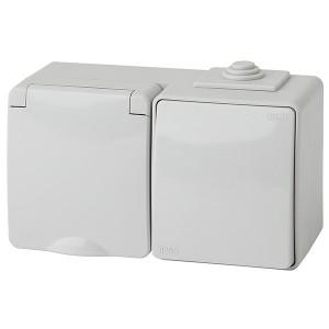 Блок розетка+выключатель горизонт. IP65 16A(10AX) открытой установки Эра Эксперт серый 11-7601-03