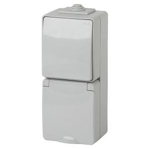 Блок розетка+выключатель вертикальный IP65 16A открытой установки Эра Эксперт серый 11-7607-03