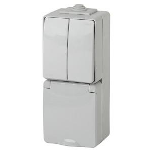 Блок розетка+2-й выключатель вертикальный IP65 16A открытой установки Эра Эксперт серый 11-7608-03