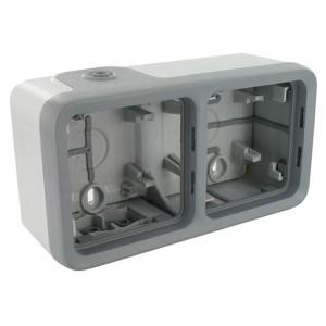 Коробка горизонтальная 2 поста накладного монтажа Legrand Plexo IP55, серый