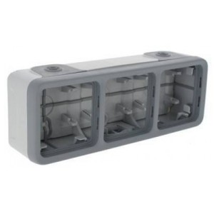 Коробка горизонтальная 3 поста накладного монтажа Legrand Plexo IP55, серый
