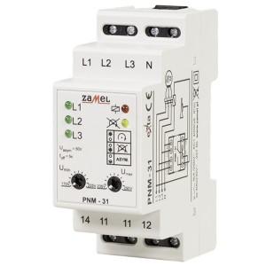 Трехфазное реле контроля напряжения Zamel 16А регулируемое 170-290В