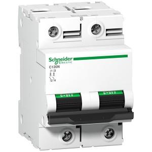 Автоматический выключатель Schneider Electric Acti 9 C120N 2П 80A C 10кА 3 модуля (автомат)