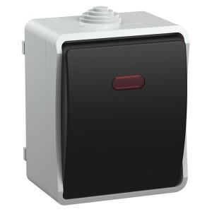 ВС20-1-1-ФСр Выключатель одноклавишный с индикацией для открытой установки ФОРС IP54 IEK