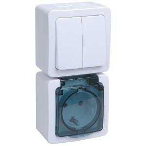 Блок выключатель 2-клавишный+розетка открытой установки IP54 ГЕРМЕС PLUS БВб-22-32-ГПБд ИЭК