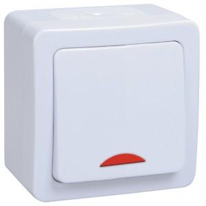 Выключатель одноклавишный с индикацией открытой установки IP54 ГЕРМЕС PLUS ВС20-1-1-ГПБ ИЭК белый