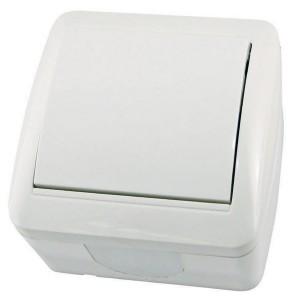 Выключатель одноклавишный открытой установки IP44 10А Селигер TDM белый