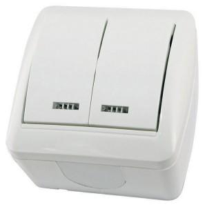Выключатель двухклавишный открытой установки с подсветкой IP44 10А Селигер TDM белый
