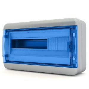 Щит навесной Tekfor 18 модулей (1х18) IP65 прозрачная синяя дверца BNS 65-18-1