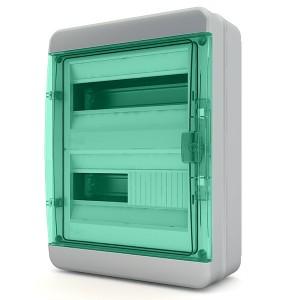 Щит навесной Tekfor 24 модуля (2х12) IP65 прозрачная зеленая дверца BNZ 65-24-1