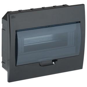 Бокс ЩРВ-П-12 на 12 модулей встраиваемый пластиковый черный с прозрачной дверкой IP41 ИЭК