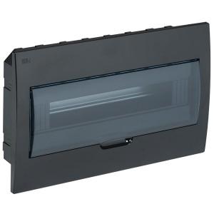 Бокс ЩРВ-П-18 на 18 модулей встраиваемый пластиковый черный с прозрачной дверкой IP41 ИЭК