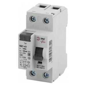 УЗО ВД1-63 электромеханическое 1Р+N 100А 100мА тип АС ЭРА Pro (NO-902-59)