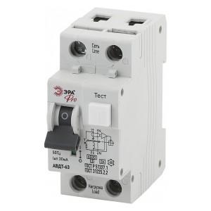Дифференциальный автомат АВДТ 63 1Р+N С10А 30мА 6кА тип А ЭРА Pro (NO-901-91)