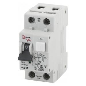 Дифференциальный автомат АВДТ 63 1Р+N С16А 30мА 6кА тип А ЭРА Pro (NO-901-82)