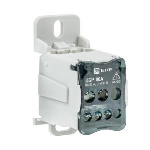 Блок распределительный КБР на DIN-рейку и монтажную панель  80A  7 зажимов EKF PROxima