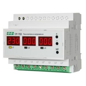Реле контроля напряжения, асимметрии/чередования фаз СР-723, 3х63А, 3NO