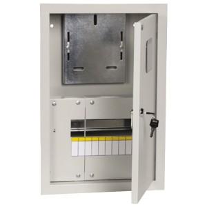 Щит металлический ЩУРв-1/9зо-1 36 УХЛ3 IP30 на 1-фазный счетчик и 9 модулей встраиваемый ИЭК