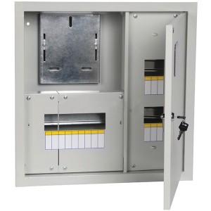 Щит металлический ЩУРв-1/15зо-1 36 УХЛ3 IP30 на 1-фазный счетчик и 15 модулей встраиваемый ИЭК