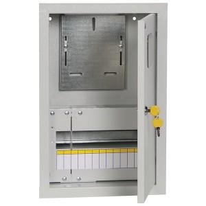 Щит металлический ЩУРв-1/12зо-1 36 УХЛ3 IP30 на 1-фазный счетчик и 12 модулей встраиваемый ИЭК