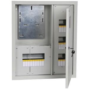Щит металлический ЩУРв-3/18зо-1 36 УХЛ3 IP30 на 3-фазный счетчик и 18 модулей встраиваемый ИЭК
