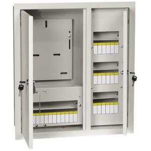 Щит металлический  ЩУРв-3/30зо-1 36 УХЛ3 IP30 на 3-фазный счетчик и 30 модулей встраиваемый ИЭК