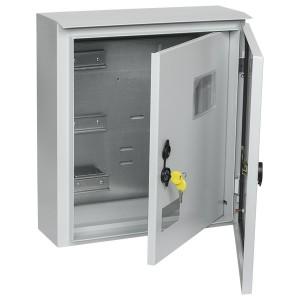Щит металлический влагозащищенный ЩУ 3/1-1 74 У1 IP66, с внутр. дверью на 3-фаз счетчик, 445х400х150
