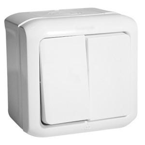 Выключатель двухклавишный IP44 Legrand Quteo белый