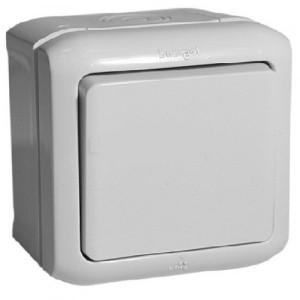 Выключатель кнопочный IP44 Legrand Quteo серый