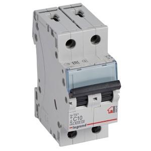 Автоматический выключатель Legrand TX3 C10A 2П 6kA (автомат)