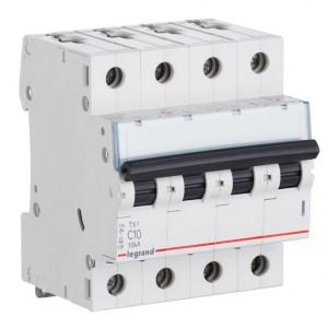 Автоматический выключатель Legrand TX3 C10A 4П 6kA (автомат)