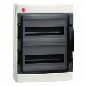 Щиток настенный DKC (2х12) на 24 модуля IP65 серый с прозрачной дверцей