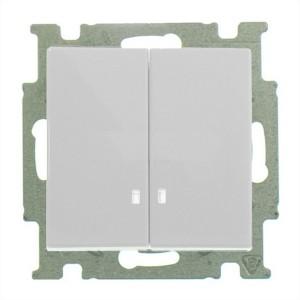 Выключатель двухклавишный с подсветкой ABB Basic 55 цвет белый шале (2006/5 UCGL-96)