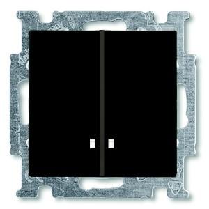 Выключатель двухклавишный с подсветкой ABB Basic 55 цвет черный (2006/5 UCGL-95)