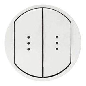 Накладка выключателя двухклавишного с подсветкой IP44 Legrand Celiane Белая