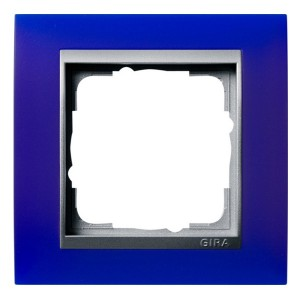 Рамка 1-ая Gira Event Матово-Синый цвет вставки Алюминий