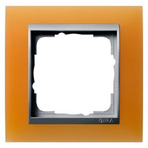 Рамка 1-ая Gira Event Матово-Оранжевый цвет вставки Алюминий