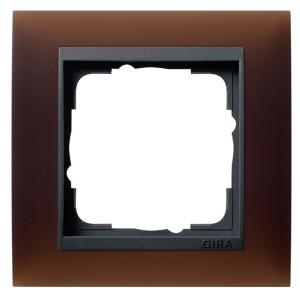 Рамка 1-ая Gira Event Матово-Коричневый цвет вставки Антрацит
