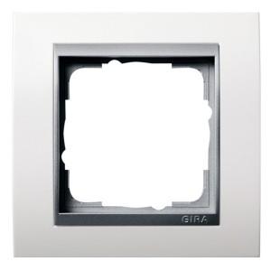 Рамка 1-ая Gira Event Матово-Белый цвет вставки Алюминий
