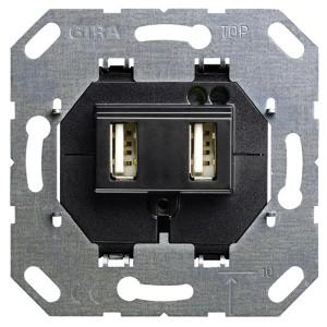 USB зарядка 2-х местная, 2100mA Gira